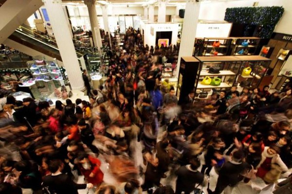 Holiday shopping crowd