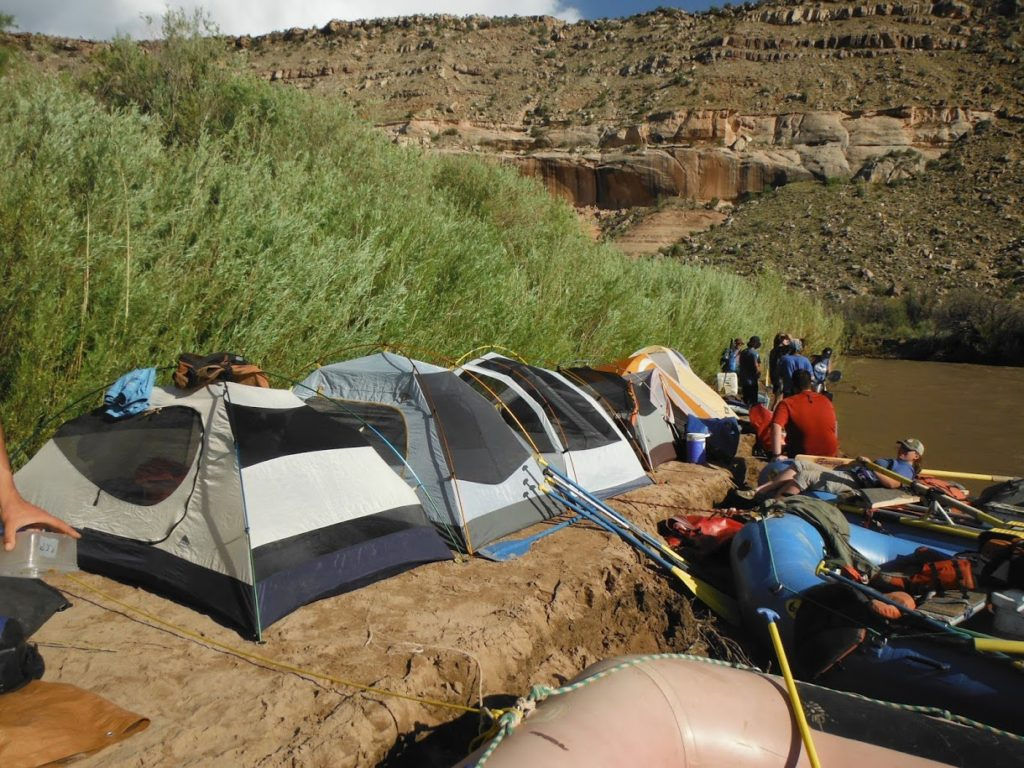 Camping along the river edge for the night