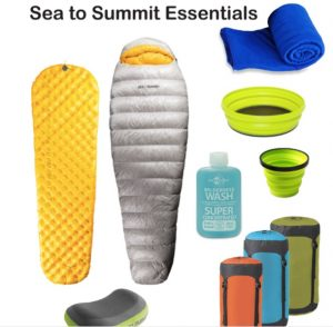 UltraLight mat, Spark Sp III sleeping Bag, Pocket Towel, X Bowl, X Cup, Wilderness Wash, Compression Sacks, Aeros Pillow Premium.