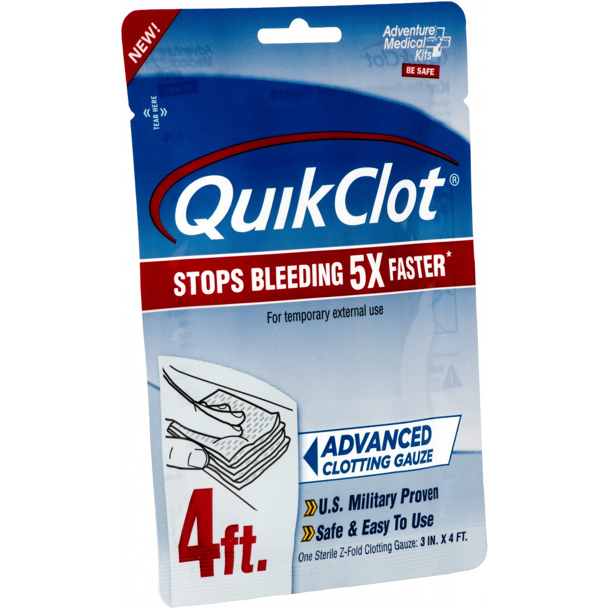 Quick Clot Stops Bleeding Fast! QuikClot Trauma Pack