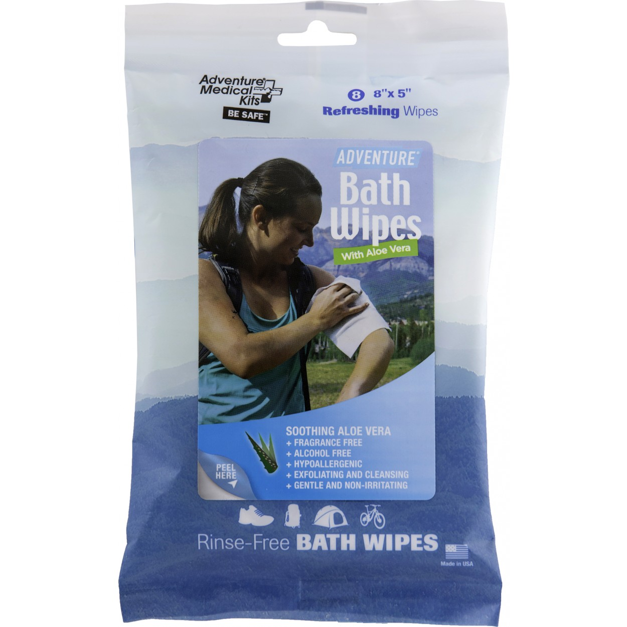 Adventure Bath Wipes 8 wipes Travel Size 8 in x 5 in